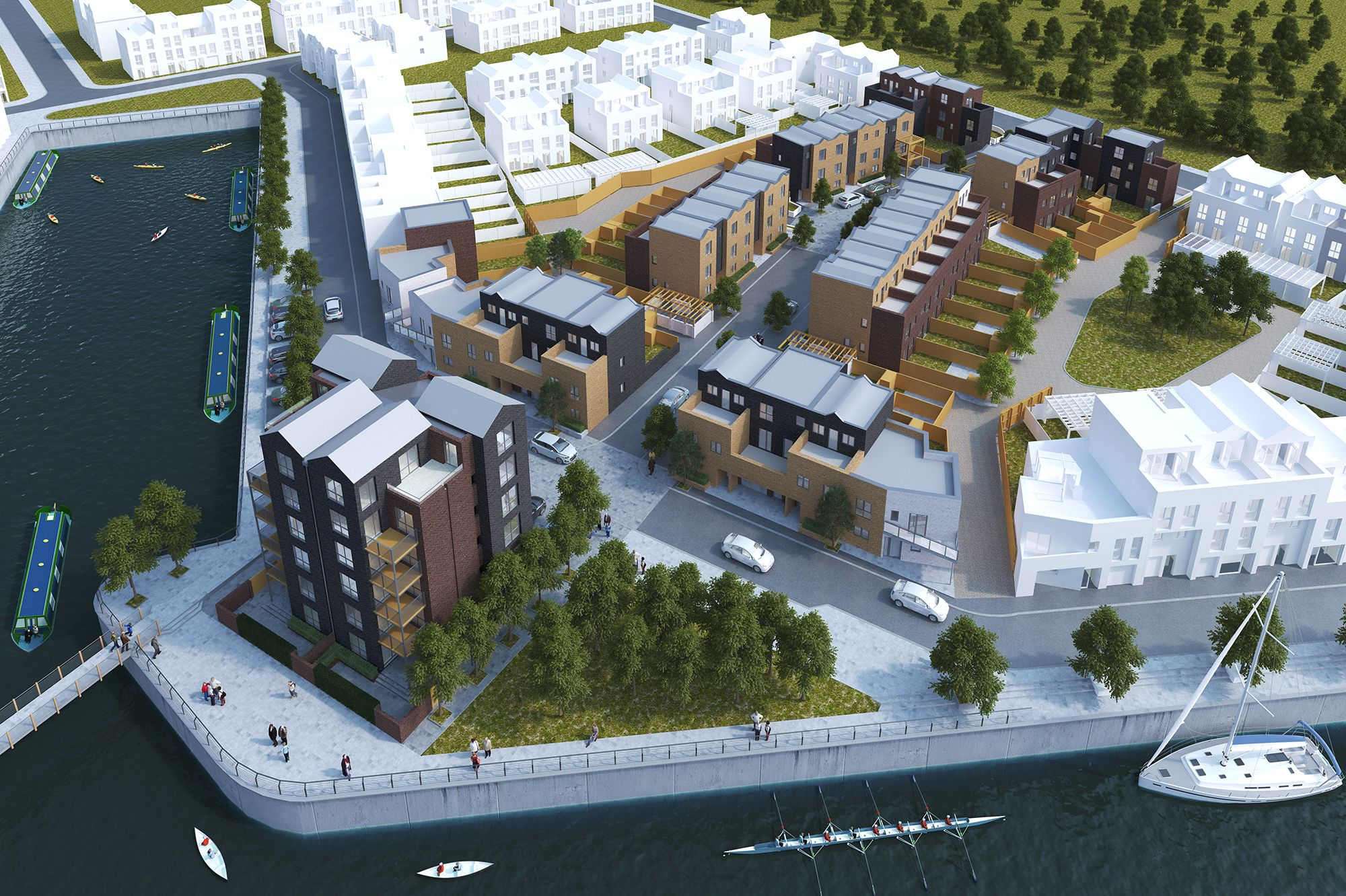 Eventually trent basin will provide 350 low energy apartments and family homes designed around community spaces as can be seen from the cgi below