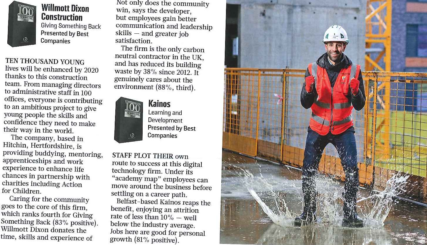 Willmott Dixon's community focus receives top Sunday Times