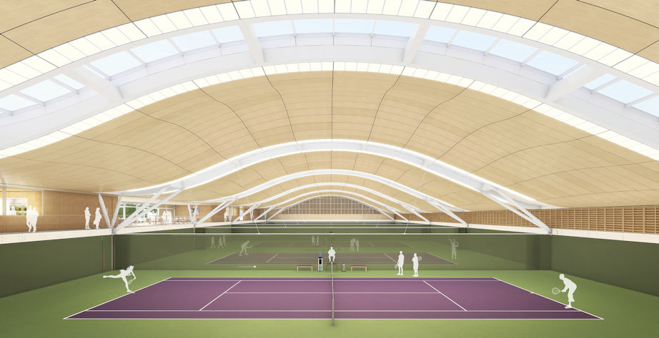 All England Lawn Tennis Club new member's complex at Wimbledon internal mid.jpg