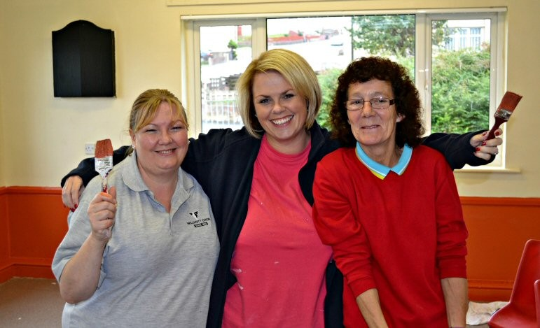 Willmott Dixon's Jill Blight, Home Group's Christina Bell Home and Sharon Barnes from Ewanrigg and Netherton Community Centre